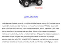 2007 HONDA RUBICON 500 OWNERS MANUAL PDF
