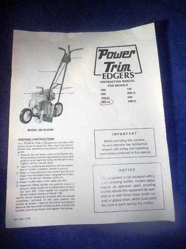 1983 Power Trim Edgers Owners Manual 500 H EBay